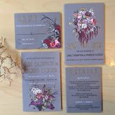 flowers, bouquet, floral wedding invitations, victorian, victorian flowers, pink, grey, pink and grey, pink flowers
