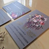 flowers, bouquet, floral wedding , save the date, victorian, victorian flowers, grey wedding invitation, dark wedding invitation, grey, pink, purple, pink flowers
