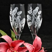 Tropical Macaw Champagne Flutes