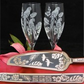 Tropical Rainforest Champagne flute cake server set