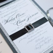 Glitz & glamour rhinestone buckle wedding invitation – Madison