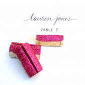Magenta Glitter Wine Cork Place Card Holders