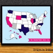 Wedding Guest Book USA Map