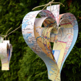 Map Heart Garland, Travel Wedding, Adventure Wedding, Destination Wedding, Garland, Travel Garland, Book Themed Wedding, Map Decor