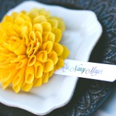 Yellow Wooden Flower Place Cards