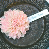 Blush Glittered Wooden Flower Place Cards