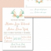 Rustic Chic Deer Antler Wedding Invitation – Martha