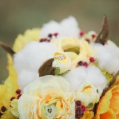 Maryann - Beautiful Yellow and Red Autumn inspired Bridal Bouquet (with natural cotton)