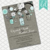 Mason Jar Invitation in Turquoise and Gray