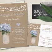 Mason Jar wedding invitation set for country weddings with blue hydrangeas as a centerpiece of the design. The wedding invitation is 5x7 and has burlap backing with a mason jar filled with lovely hydrangeas (the colors on the design can all be changed to coordinate with your wedding) and is completed with contemporary fonts and stylings. This fun wedding invite is great for outdoor weddings, barn weddings, country weddings, rustic wedding and shabby chic events!