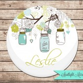 Personalized Mirror - Mason Jars In Blue & Green
