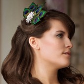 Megan - Rhinestone and Peacock Feather Fascinator