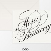 Elegant Flourish Script Thank You Folded Note Card