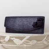 Wedding Envelope Clutch - Black and Silver Metallic Linen Fabric with Metallic Linen Roses