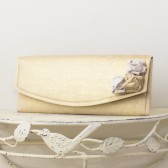 Wedding Envelope Clutch - Gold and White Metallic Linen Fabric with Metallic Linen Roses
