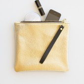 Metallic Gold Leather Fold Over Zipper Clutch