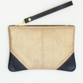 Small Metallic Gold Linen and Leather Wristlet