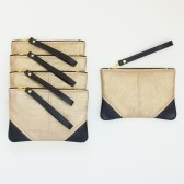 Set of 5 Small Metallic Gold Linen and Leather Wristlets