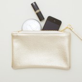 Metallic Platinum Pale Gold Leather Zipper Wristlet