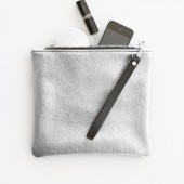 Metallic Silver Leather Fold Over Zipper Clutch