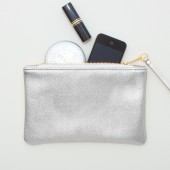 Metallic Silver Leather Zipper Wristlet, Zipper Pouch