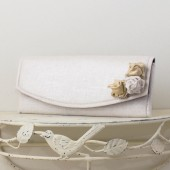 Wedding Envelope Clutch - White, Silver and Gold Metallic Linen Fabric with Metallic Linen Roses