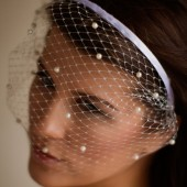 Michelle - Haute Couture birdcage veil adorned with pearls