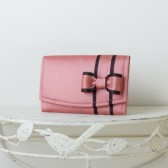 Small Wedding Envelope Clutch - Lipstick Pink Dupioni Silk with Bow