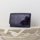 Small Wedding Envelope Clutch - Black and Silver Metallic Linen Fabric with Metallic Linen Roses