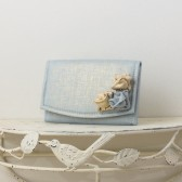 Something Blue - Small Wedding Envelope Clutch - Powder Blue and Gold Metallic Linen Fabric with Metallic Linen Roses