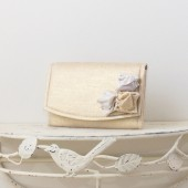 Small Wedding Envelope Clutch - Gold and White Metallic Linen Fabric with Metallic Linen Roses