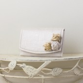 Small Wedding Envelope Clutch - White, Silver and Gold Metallic Linen Fabric with Metallic Linen Roses