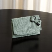 Small Envelope Clutch with Bow - Blue / Green and Black