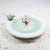 Mint bird ring holder engagement gift