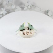 Personalized Mint love birds wedding cake topper
