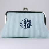 Monogrammed Mint Seersucker Mini Clutch