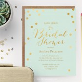 Printable Mint and Gold Polka Dot Shower Invitation