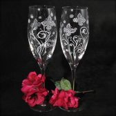 Modern Butterfly Champagne Flutes