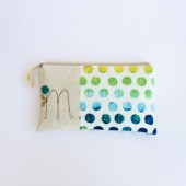 Monogram Clutch with Polkadots