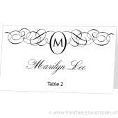 Place Card Template - Monogram Design