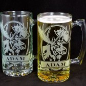 Personalized Wildlife beer mugs, groomsmen gifts