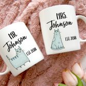 Mr and Mrs Mug Set - Wedding Gift - Mr. & Mrs. Mugs - Newlywed Mugs - Bridal Shower Gift - Anniversary Gift - Couple Mugs - His and Hers