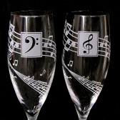 Musical Wedding Champagne Glasses, Music Lovers Wedding