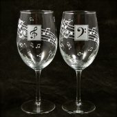 Music wine glasses, gift for couple