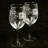 Music Lovers Wine Glasses, Personalized