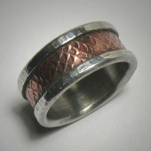 Industrial textured copper & silver wedding band for men