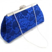 Navy Blue, Royal Blue Lace and Steel Grey Bridal Clutch