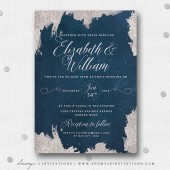 Navy Blue and Silver Star Wedding Invitation, Constellation Wedding, Moon and Star Wedding Invite, Starry Night Wedding Invitation, Winter Wedding Invitation by Soumya\'s Invitations