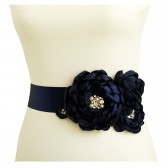 Navy Blue Bridal Dress Sash Belt with Crystals and Pearls