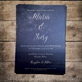 Navy Blue Wedding Invitation, Starry Night Wedding Invitation, Printable Wedding Invitation Set, Star Celestial Galaxy Constellation Party Wedding Invitation, Lake Beach Seaside Wedding Invitation by Soumya\'s Invitations